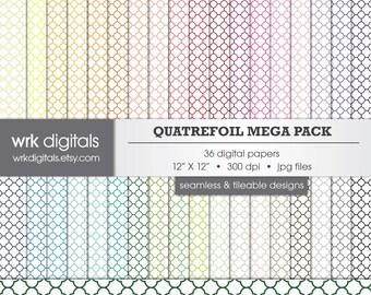 Quatrefoil Mega Pack Seamless Digital Paper Pack, Digital Scrapbooking, Instant Download