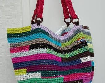 Bag crochet colorful striped with handles
