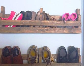 "36"" Shoe rack, Rustic shoe rack, Pallet shoe rack, Rustic pallet, Wall shoe rack"