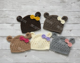 Baby girl hat, newborn girl hat, baby girl bear hat, newborn photo prop, crochet bear hat, baby girl clothes, coming home outfit, baby girl