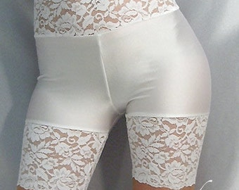 Spandex shorts hot pants with white lace top & cuffs