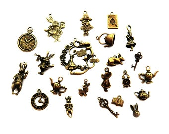 great lot of alice in Wonderland key clock cat theire rabbit book charm (20 pieces)