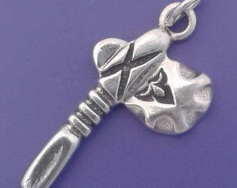 TOMAHAWK Charm .925 Sterling Silver, Axe, Native American Indian Pendant - lp1290