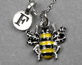 Bumblebee necklace, bumble bee necklace, bee necklace, honey bee charm, personalized jewelry, initial necklace, initial charm, monogram
