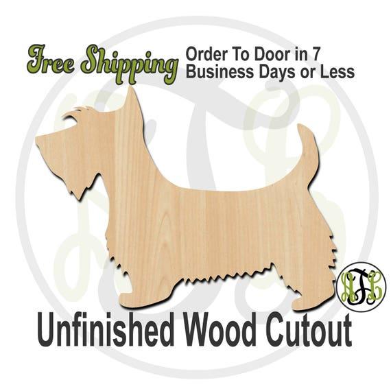Scottie - 230090- Animal Cutout, unfinished, wood cutout, wood craft, laser cut shape, wood cut out, Door Hanger, Dog, wooden, blank