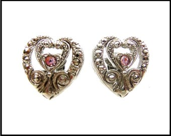 Pink Rhinestone Earrings, Silver Hearts with Faux Marcasites, Pink Heart Earrings, Silver Scrolls, Gift For Her