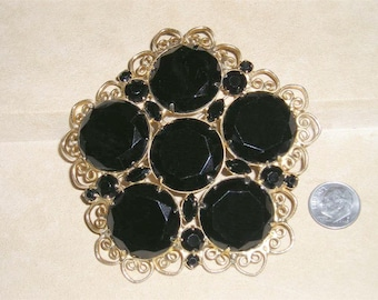 Vintage Large Coat Brooch With Black Glass Rhinestones BFB 1960's Pin Jewelry 3121