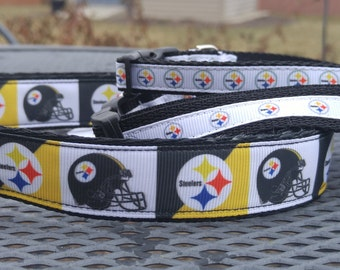 Pittsburgh Steelers football team inspired dog collar several widths available