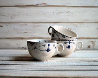 Vintage Ironstone, Vintage Tea Cups, Blue and White Ironstone, Furnivals Limited, English Ironstone, English Tea Cups