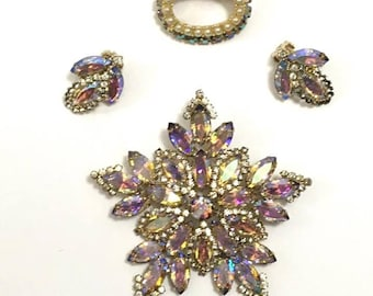 Vintage 50s/60s Aurora Borealis Crystal Brooch and Earrings Jewelry Set