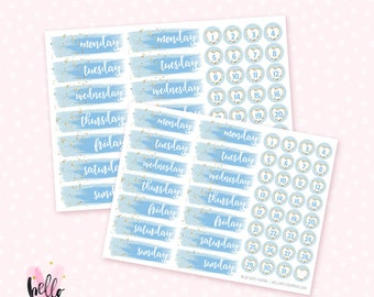 Date Cover Stickers / Blue  Watercolor - 46  planner stickers / for the  Erin Condren Life Planner