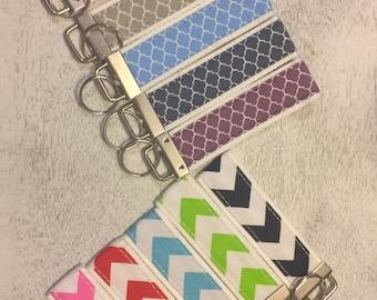 Fabric Key Fob Wristlet-Chevron or Quatrefoil