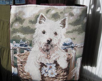 Sweet little Westie Terrier West Highland Pup Themed Tapestry Fabric Book Bag Market Bag Tote Bag