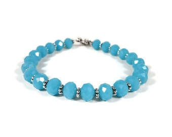 Blue Crystal Bracelet, Opaque Jade Blue Beaded Bracelet, Crystal Tennis Bracelet, Beadwork Bracelet, Women's Costume Jewelry, Gift for Her