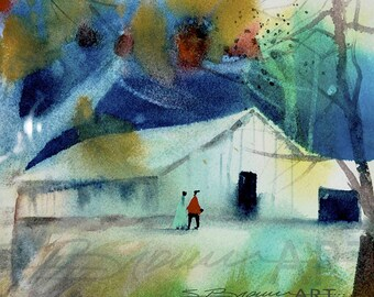 Barn Outing Watercolor Painting, African American Art, Contemporary Art, Watercolor Art, Home Decor Art, Landscape Art, Watercolor Print