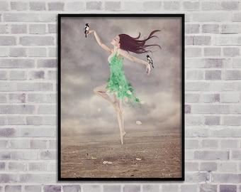 dancing woman print, wall art printable, home decor print, woman wall art, dance girl print, woman fine art, modern art, digital print