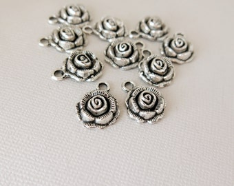 Rose Charms - 17mm x 14mm - Tibetan Silver - Pewter - hollow back - 3D