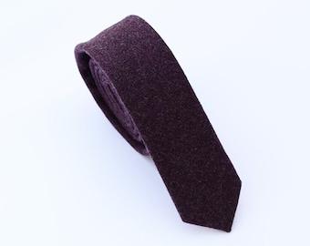 Dark Purple Wool Tie.Purple Skinny Ties.Purple Neckties for Men.Plum Tie. Plum Neckties.Purple Wedding Ties.Groomsmen Ties.Gifts for Men
