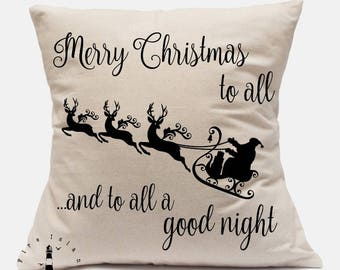 Merry Christmas to All Pillow Cover, Farmhouse Christmas Pillow Cover, Vintage Santa Pillow Cover, Canvas Pillow Cover, Merry Christmas