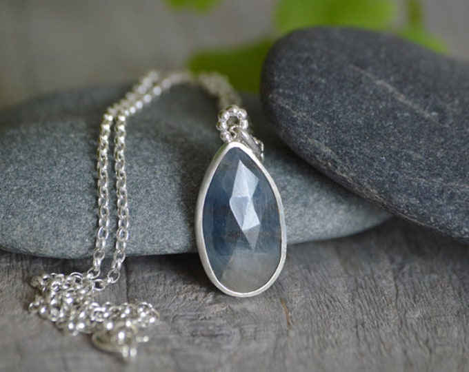Rose Cut Sapphire Necklace Set In Sterling Silver, 5.45ct Blue Sapphire Necklace, Something Blue Wedding Gift