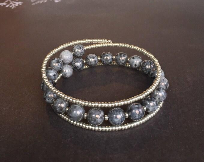 Silver beaded triple wrap bracelet, memory wire jewelry, silver jewelry, bead jewelry