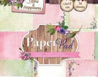 Block paper 15 x 15 - 36feuilles - 170g - Home & Happiness - 2 PPHH40