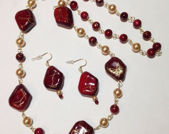 Long Necklace, Dark Garnet Red, Gold, Glass, Acrylic, Continuous Strand Necklace, Earrings