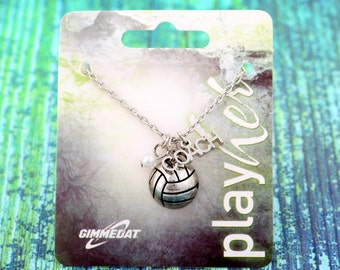 Customizable Silvertoned Volleyball Coach Necklace - Personalize with Heart or Letter Charm! Great Volleyball Coach Gift!