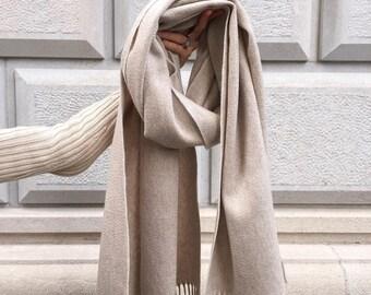 Cashmere scarf /Pashmina /genuine /Italian design /beige scarf /camel scarf /gray scarf /luxury /warm /Women /Men /large /wool cashmere