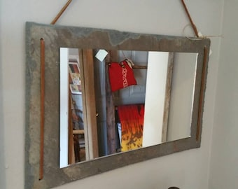 Handmade Antique Vermont roofing slate mirror.  Made will slate from a 200 plus year old local  farm roof.  Rawhide accents.