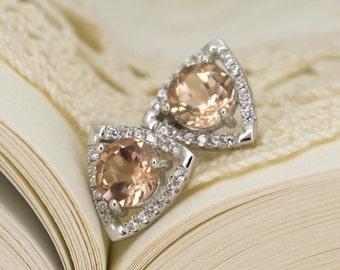 Peach Sunstone Sterling Silver Earrings 1.2ct (S2406E)