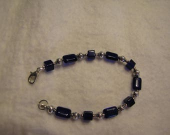 Bracelet-Blue-Cobalt-Glass-Rectangles-Cubes  with silver etched lantern beads #113