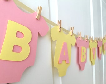 """Baby One-Piece Bodysuit """"BABY GIRL"""" Baby Shower Banner: Pink Lemonade (Pink and Yellow) Baby Shower Decoration"""