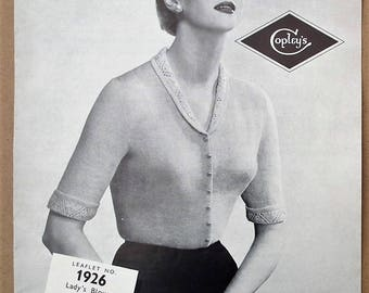 Vintage 1940s 1950s knitting pattern women's cardigan blouse top with collar and short sleeves 40s 50s original pattern Copley's UK No. 1926
