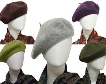 Full Liner Vintage Design Wool Felt French Beret Hats Felt