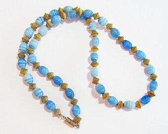 Vintage Costume Blue & Gold Necklace