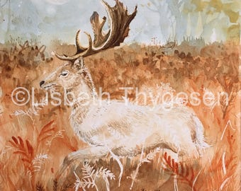 Original Art: Fall Moon. Stag, deer, cervid, fall, autumn, nature, nordic, scandinavian, moon, woodland, clearing, animal, forest, magic,