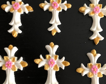 Cross toppers,first communion cross toppers,...12 cross set, Cross toppers fondant,Baptism Cross toppers,