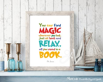 """Printable artwork Dr. Seuss quote """"You can find magic wherever you look"""" Instant digital download for Kids playroom, nursery decor ArtCult"""