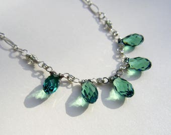 Delicate Blue Green Swarovski Crystal Teardrop Necklace Green Crystal Briolette Fringe Necklace Sterling Silver or 14k Gold Fill