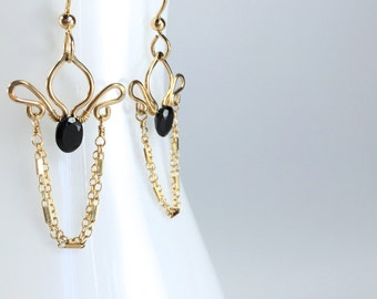 Alexandria - Black Spinel and Gold Filled Earrings || Black Spinel Gold Dangles || Delicate Black Stone Gold Chains Earrings