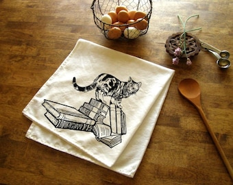 Cat and Books Kitchen Towel Tea towels animal print crazy cat lady gifts towels gifts cats home decor Screen Print housewares book lovers