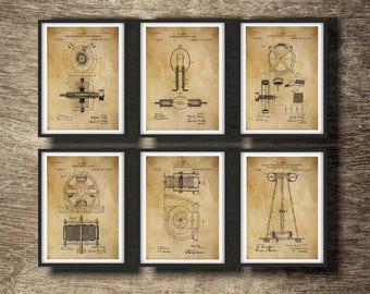 Blueprints etsy tesla print set of 6 inventions tesla blueprint tesla art print nicola tesla malvernweather Choice Image