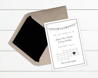 Simple Bunting Save the Date // Wedding Save the Date // Sample Only // Printed or Printable | Design Code #STD-005