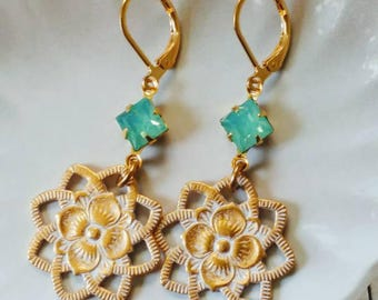 Flower Charm And Vintage Sea foam Green Set Stone Earrings. Gift For Her