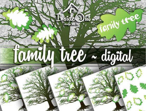 Custom Family Tree Clipart SVG PNG Digital Silhouette Wall