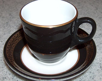 p7440: Vintage Shenango Demitasse Cup & Saucer Set Black Gold Coffee Expresso Restaurant Ware at Vintageway Furniture 8 Available