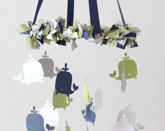 Whale Ocean Nautical Mobile in Navy Blue, Moss Green, Gray & White-Baby Mobile, Baby Shower Gift