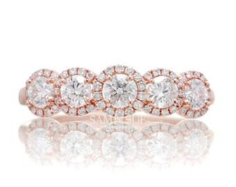 Rose Gold Diamond Five Stone Anniversary Wedding Band Ring Halo Ethiically Sourced Gemstones