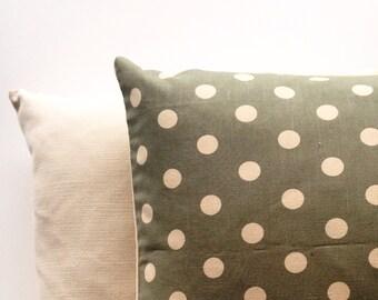 Cotton & velvet green spitty cushion cover
